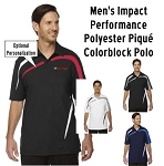 NASA Racing Logo Men's Impact Performance Polyester Piqué Colorblock Polo