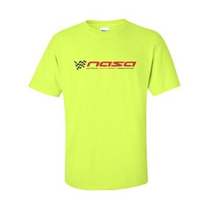 NASA Racing Logo Safety Green 100% Cotton Short Sleeve T-Shirt