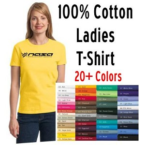 NASA Racing Logo Ladies 100% Cotton Short Sleeve T-Shirt, Choose your color!