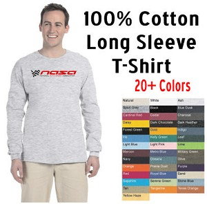 NASA Racing Logo 100% Cotton Long Sleeve T-Shirt, Choose your color!