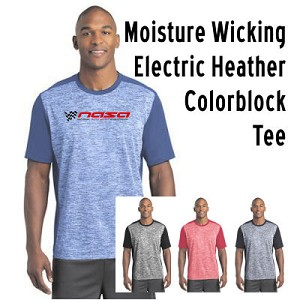 NASA Racing Logo Moisture Wicking Electric Heather Colorblock Tee
